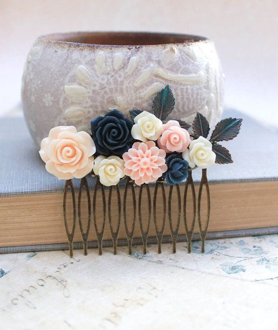Flower+Hair+Comb+Navy+Blue+Rose+Floral+Collage+by+apocketofposies,+$34.00