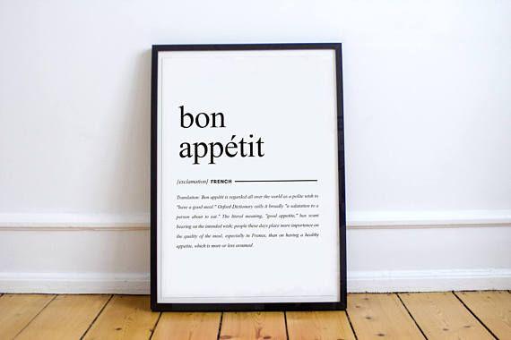 Französisch-Wörterbuch-Poster Bon Appétit