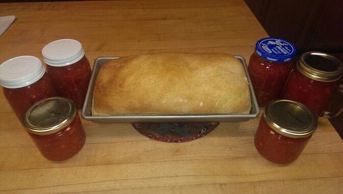Snack time homemade strawberry jam (sure-gel recipe) and homemade bread