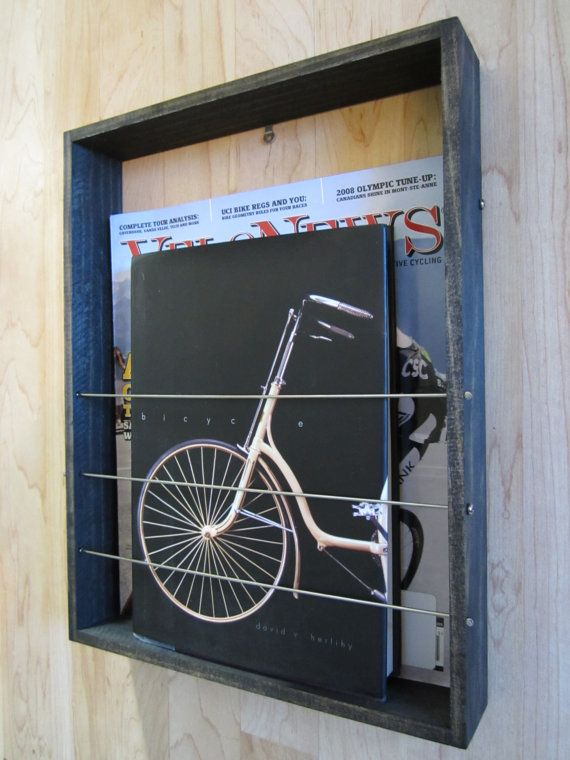 Magazine/Book Rack Wall Mount by SundayVeloWorks on Etsy, $30.00