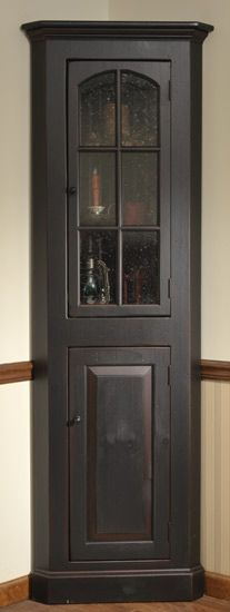 BLACK CORNER CABINET WITH SEEDY GLASS PANES . Have This In A Bedroom  Displaying Antique Hair