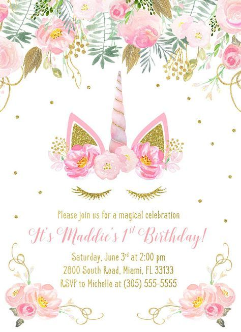 This Unicorn Face Invitation Is Perfect For Your Next Magical Birthday Celebration Beautiful Pink Florals Frame The Which Features A Super Cute