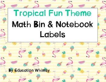 Tropical Fun Theme Math Bin & Notebook Labels