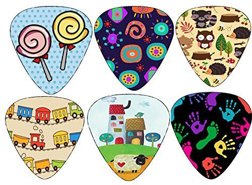 Cute Guitar Picks for Kids Boys and Girls - Medium Gauge Size - Celluloid - 12-pack. Children Day Stocking stuffers for kids - Great Accessories for kids guitar 12 FUN GUITAR PICKS FOR KIDS, BOYS & GIRLS — If you search for guitar picks on Amazon, you'll never find picks that come in unique designs like these. They're truly unique, cool and cute that encourage your kids /children to learn guitar lessons with these picks. SUITABLE…