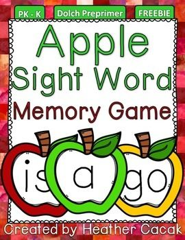 Thanks for downloading my FREEBIE Dolch Preprimer Apple Sight Word Memory Game.   Print 2 copies of each page, cut along dotted lines, and laminate.  (Choose the cards that best fit the needs of your students.)  Turn cards upside down.  Students flip cards over, one at a time, until they make a match!