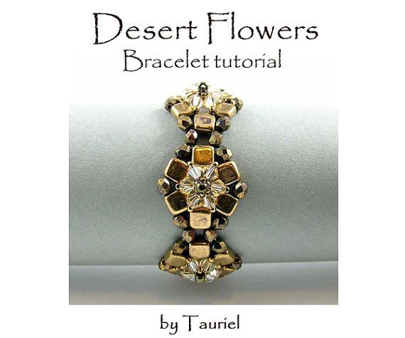 Desert Flowers, beadvowen bracelet, tutorial DIY