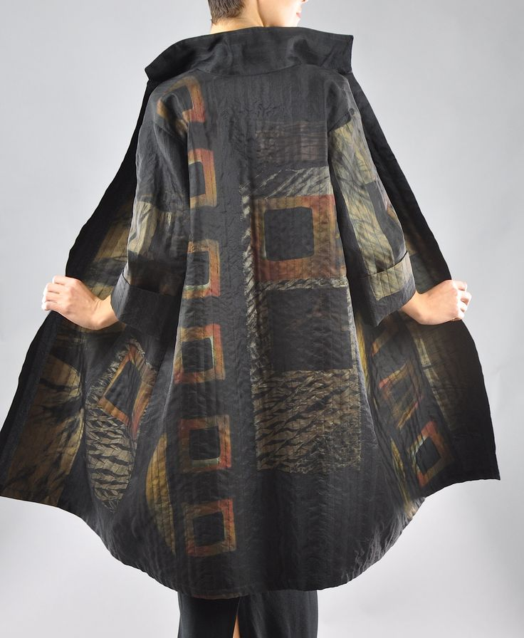 Medium stained glass trench coat silk layers of sewn various shibori in between dupioni and silk organza SOLD