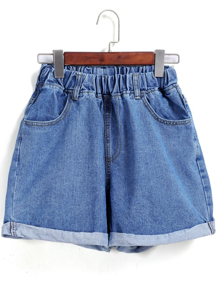 Blue Elastic Waist Flange Denim Shorts 16.00