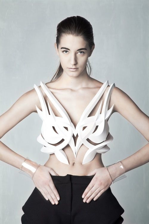 """A recent graduate from RMIT University in Melbourne, Amelia Agosta is an upcoming Haute Tech designer worth keeping your eye on. Her final year collection """"Engineered Distortion' intricately fused craft and technology, using digital tools such as body scanners and 3D printers."""
