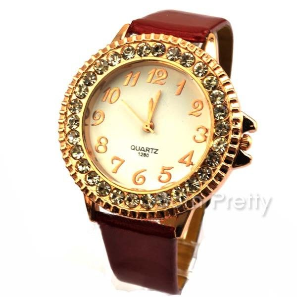 $9.50 Fashion Arabic Numeral Marks Watch Delicate Rhinestone Watch Concise Watch - BornPrettyStore.com