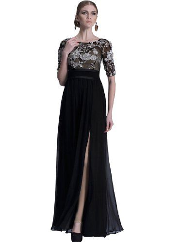 Remedios Black Embroidery Long Evening Gown Formal Celebrity Dress For Women,XXL - Click image twice for more info - See a larger selection of Party dress at http://azdresses.com/category/dress-categories/dresses-by-occassion/party-dress/ - woman, womans dress, womans fashion, dress, gift ideas, semi formal dress « AZdresses.com