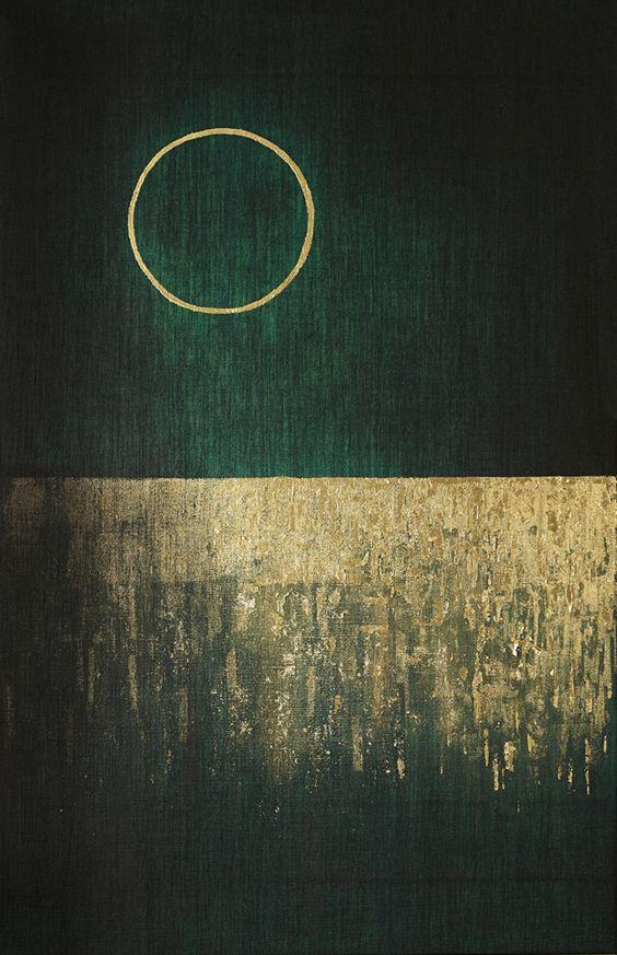 Amna Mulabegovich - Moon Heart, 2013 acrylic / gold leaf 22k, 140 x 90cm: