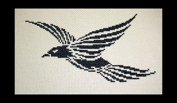 Crowe Cross Stitch Pattern Crow Cross Stitch by BlueTopazStitchery, $4.00