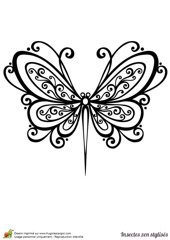 Dessin à colorier d'un papillon stylisé - Hugolescargot.com
