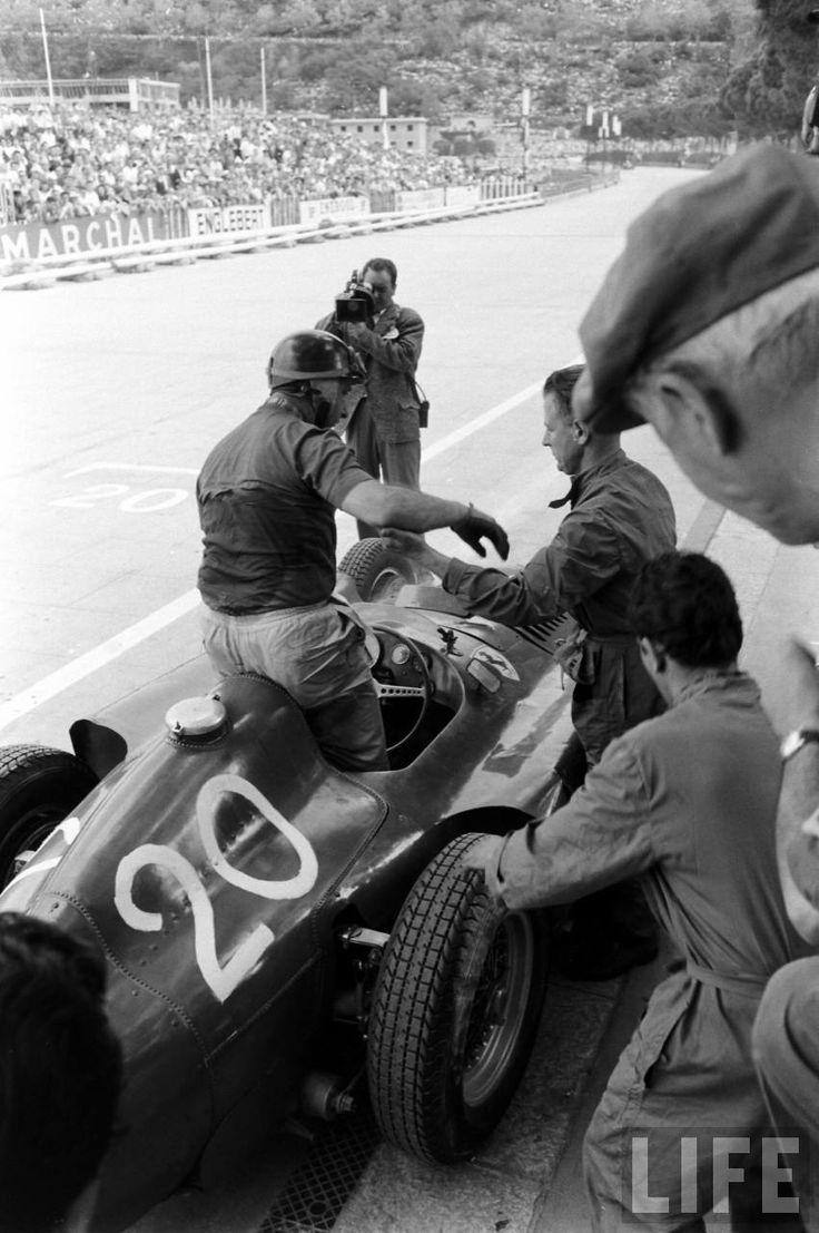May, 1956 – Juan Manuel Fangio in his #20 Lancia/Ferrari D50 race car at the Monaco Grand Prix.