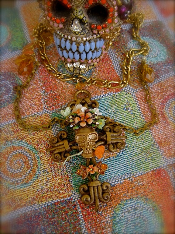 Flores Para Mi Amor DAY of the DEAD Vintage Floral Assemblage Necklace One of a Kind ooak - Morticia Snow on etsy