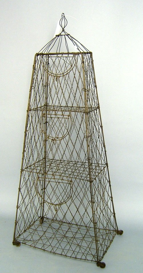 Wire birdcage, early 20th c. Lovely shape.