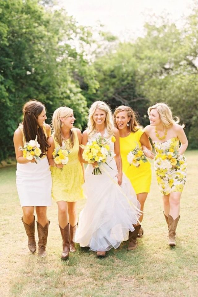 Southern wedding - so cute - love the boots... I want a fall wedding so I'd like the variations in orange or purple