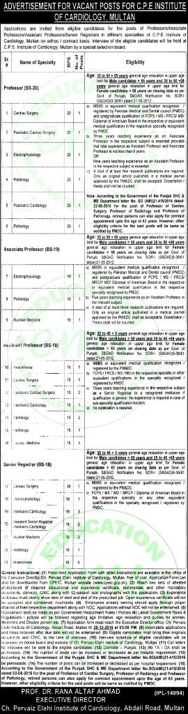C.P.E+Institute+of+Cardiology+Multan+Jobs+December+2016++++    Daily+Newspaper+Jobs+2016+|+Jobs+in+Pakistan+|+Government+Jobs+|++Saudi+Arabia+Jobs+|+NTS+Jobs  + ++Vacancy+/+Positions+of+this+Advertisement+  +C.P.E+Institute+of+Cardiolo