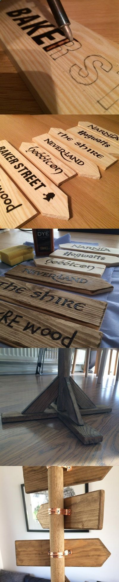 Teds Wood Working – The Fantasy Road Sign for the Garden. Which child would not like to travel to Hogwarts, Narnia or Neverland? (Cool Ar …