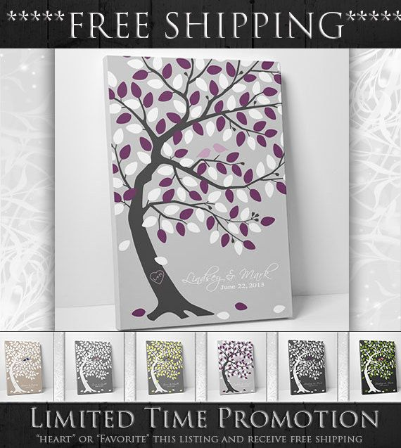 Unique Wedding Guest Book Alternative - Wedding Tree Guest Book -16x20- Save the Date 100 Guest Sign In - On Canvas or Print (Flat)
