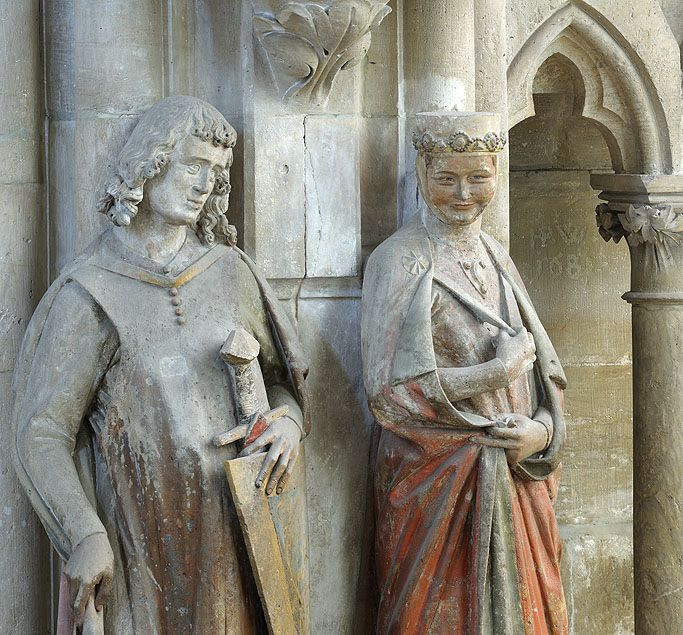 Statues of Hermann I, Margrave of Meissen and his wife Reglindis at Naumburg Cathedral. Gothic Sculptor, German, c. 1245-50