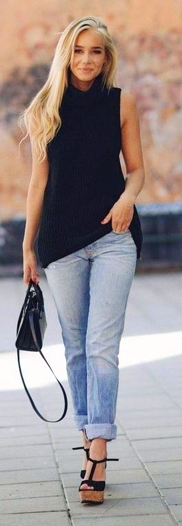 #spring #summer #fashionistas #outfitideas | Black Sleeveless Sweater + Mom's Jeans