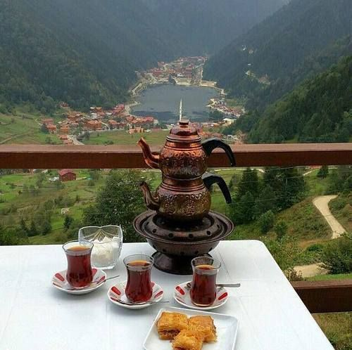 Turkish tea with a view