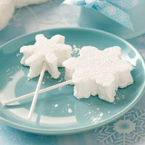 Homemade Marshmallow Snowflake Pops Recipe from Taste of Home -- Homemade marshmallows