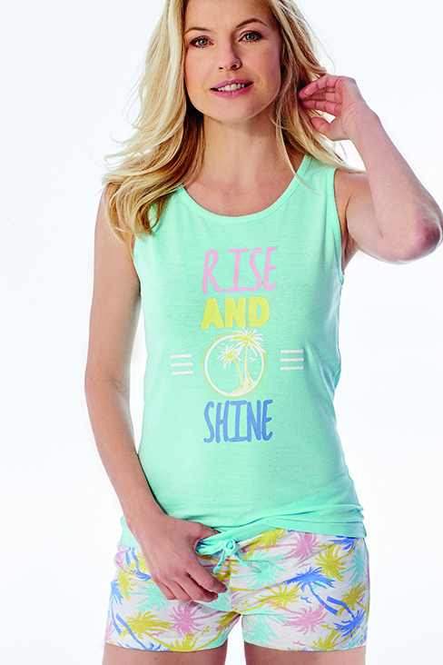 Rise And Shine Shortie Pyjamas £12.00 Vest top with tie waistband palm print shorts. Machine washable. Cotton.