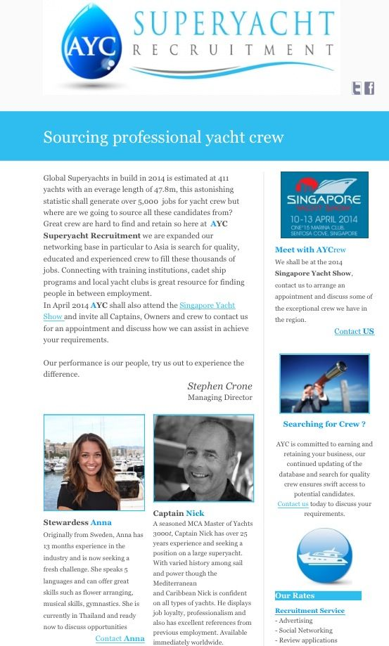AYC newsletter - Sourcing Yacht Crew.   March 2014