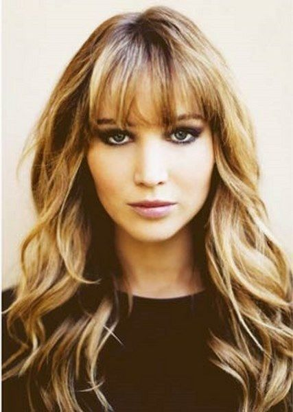 Image result for medium wavy hairstyle with blended bangs