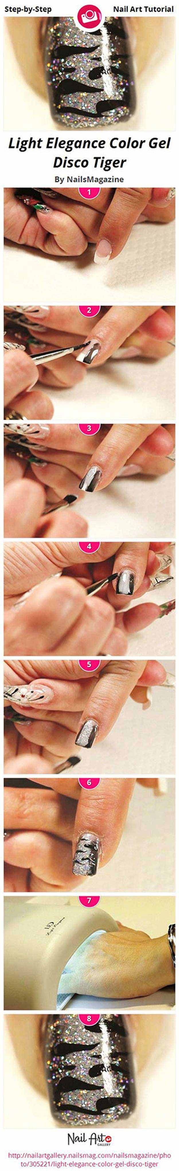 Best Gel Nail Designs - Easy Gel Nail Design - Disco Tiger Nail Art- Beautiful Gel Nail Designs And Pictures Of Manicures And Nailart To Give You Some Awesome Fashion Style. Step By Step Tutorials And Tips And Tricks And Ideas For Shape And Colour. Polish And Shape Your Nails To Match Your Makeup And Follow These Art Tutorials To Get That Sparkle In Your Tips. Try The Best Gel Nail Designs With Ideas For Summer, Fall, Spring, And Winter. Gel Nail Art Is Awesome And Goes Great With These…