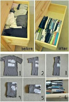 Home organizing - perfect the tee shirt fold and save tons of room in drawers with increased visibility and no more tumbling piles!