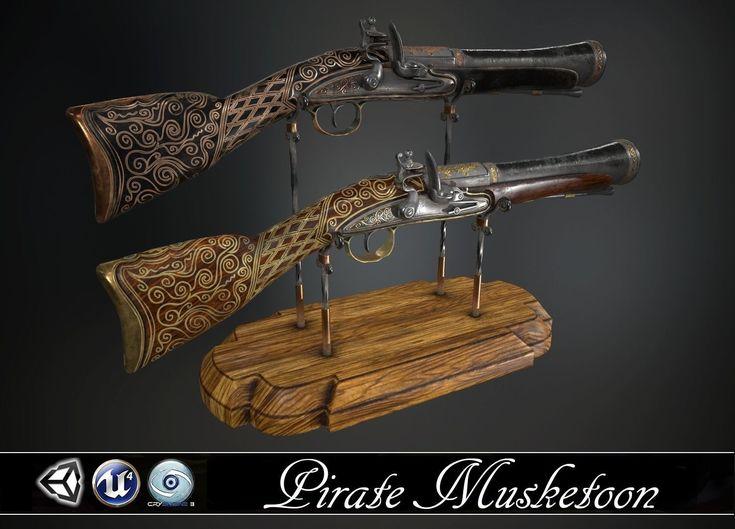 pirate musketoon - two skins 3d model obj fbx tga 1