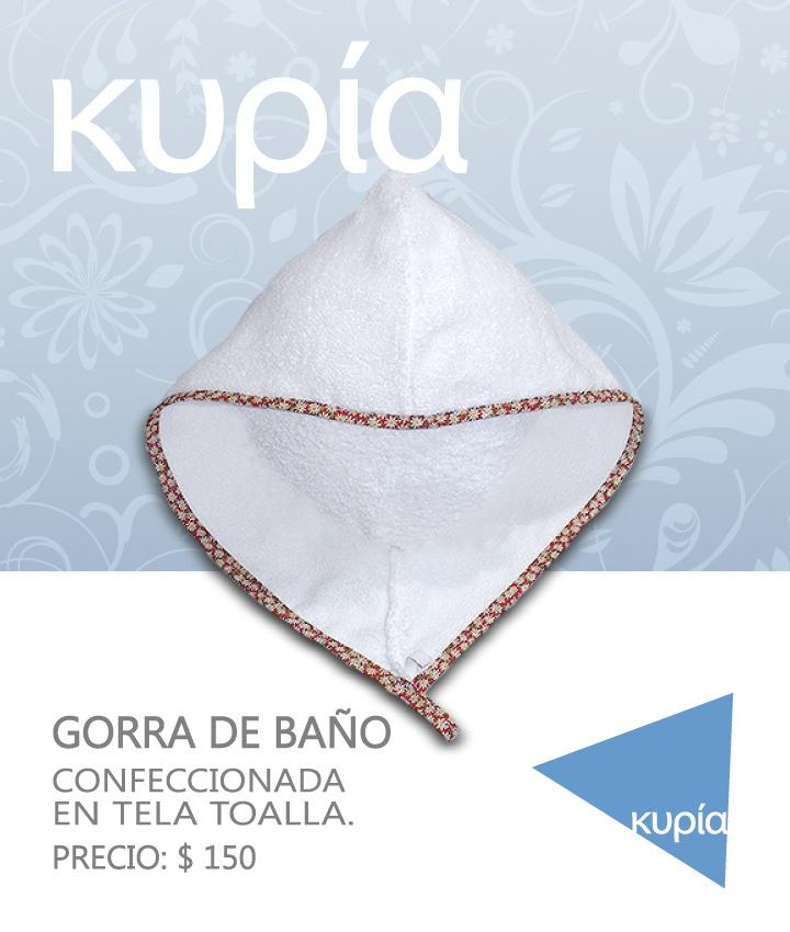 GORRA DE BAÑO TOALLA  Confeccionada en tela de toalla.  Precio: $ 150