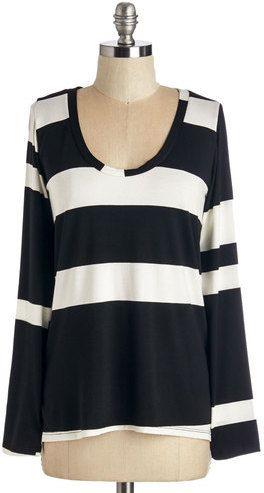 Sweet Claire Inc. Striped Simplicity Top in Black on shopstyle.com.au