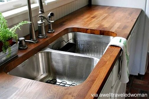 DIY Countertop Ideas | Butcher block countertops are a great middle-ground, solid countertop ...