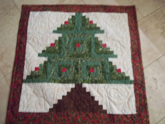 Log Cabin Christmas Tree Quilt/ Wall hanging by jbalilley on Etsy, $75.00