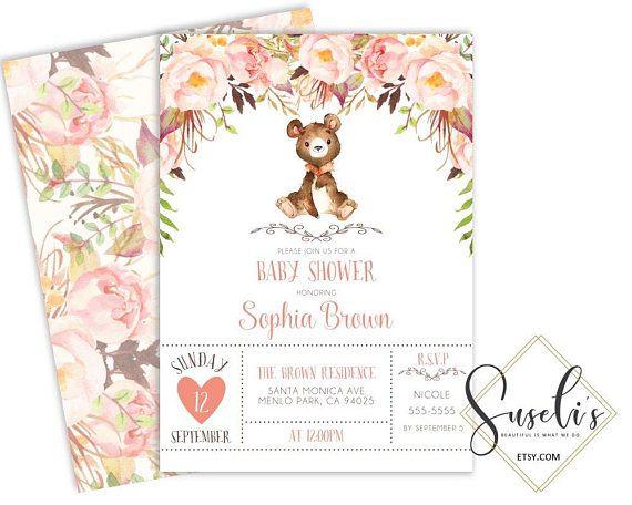 Woodland Baby shower invitation Printable Boho Bear Forest