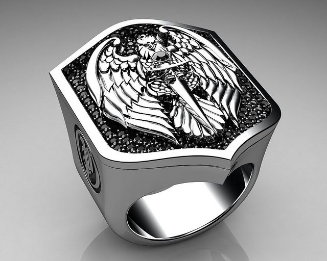 Unique Mens Ring Eagle Shield Ring Sterling Silver with Black Diamonds By Proclamation Jewelry | Flickr - Photo Sharing!