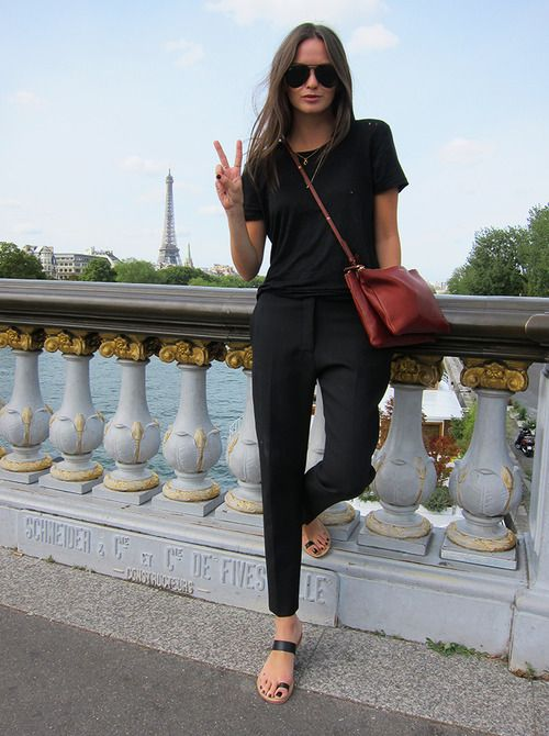 Black Slacks and a Black Tee Chic and Red Satchel km