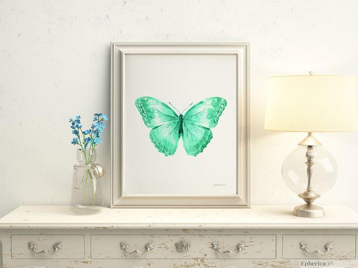 Mint green butterfly wall decor, Mint nursery decor, Mint print Butterfly art PRINTABLE Bedroom decor Green Nursery wall art Bedroom artwork by EphericaArt on Etsy