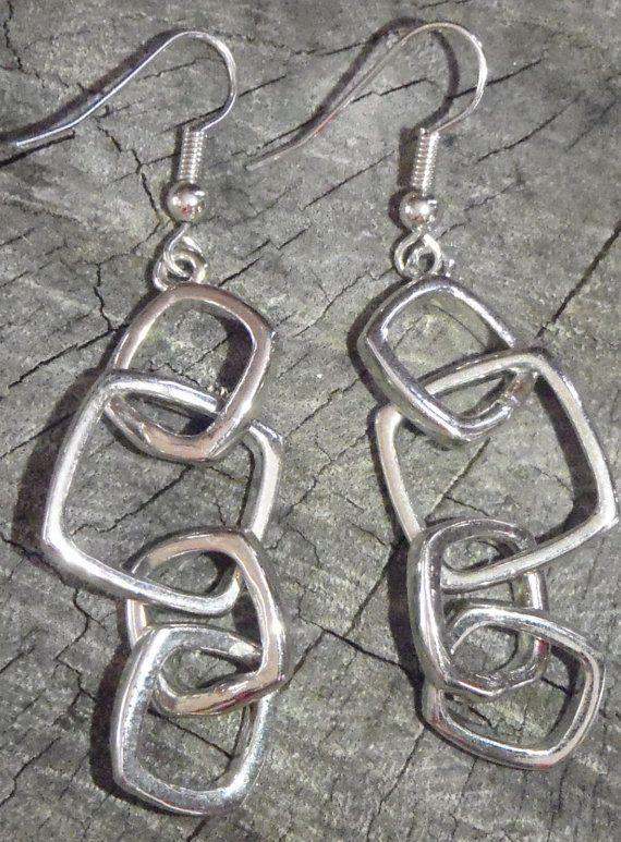 Playful Square hanging Earrings  4 dangling by BrigittesJewels, $9.00