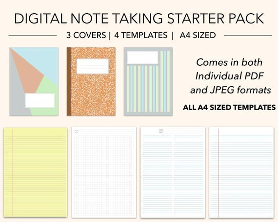 Digital Note Taking Starter Pack 3 Covers 4 Writing Etsy Grid Paper Writing Templates Note Taking