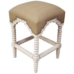 Noir Abacus Counter Stool White Wash