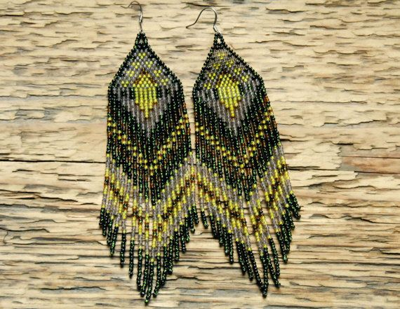Velvet and Moss..Large Beaded Fringe Earrings