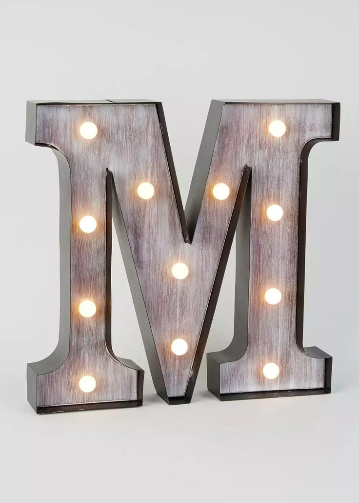 Led m letter light 33cm x 33cm matalan