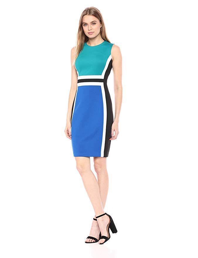 ff3bd685 Calvin Klein Women's Sleeveless Color Block Sheath Dress at Amazon Women's  Clothing store: