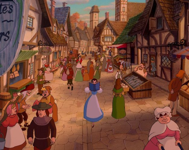 "When the townspeople sing, ""She's nothing like the rest of us,"" they're not wrong: Belle is the only villager wearing blue, further emphasizing her ~difference~. 